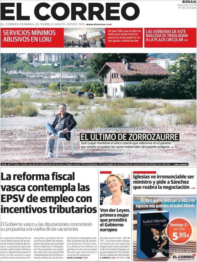 Portada El Correo 2019-07-18