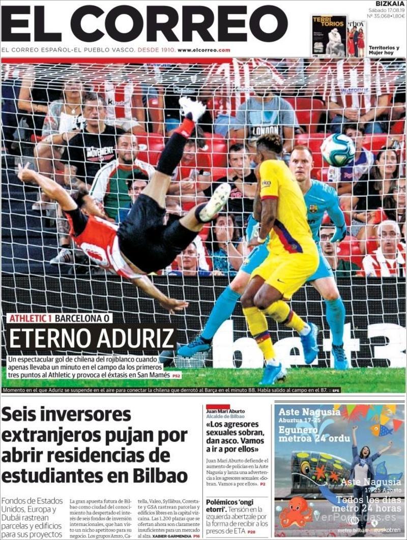 Portada El Correo 2019-08-18