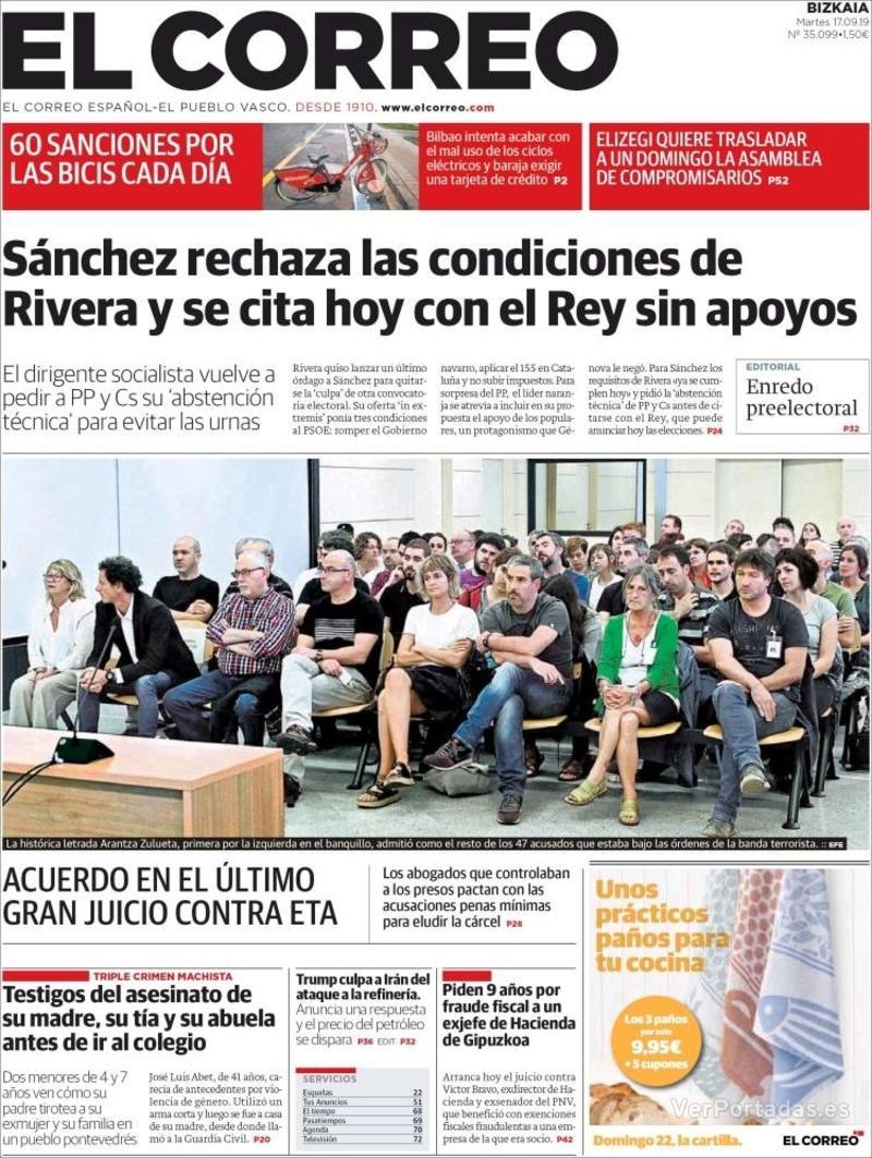 Portada El Correo 2019-09-18
