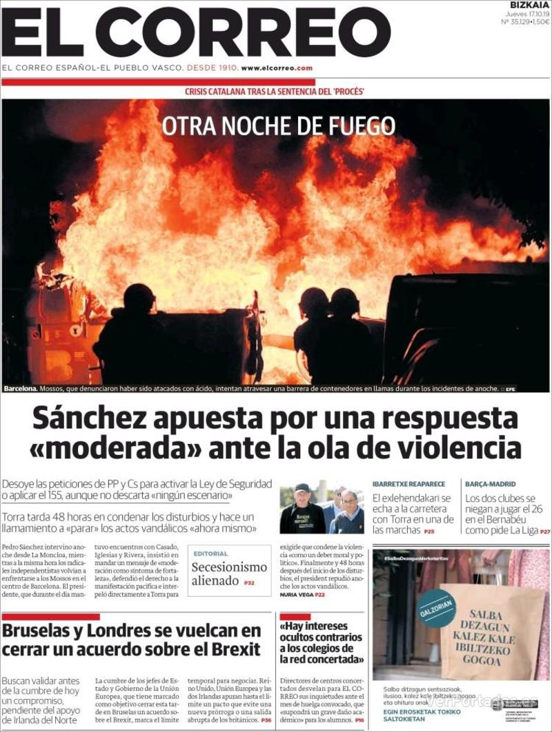 Portada El Correo 2019-10-18