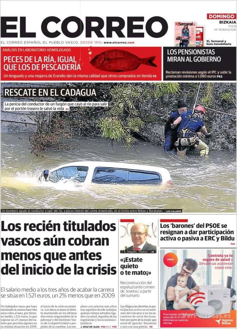 Portada El Correo 2019-11-18