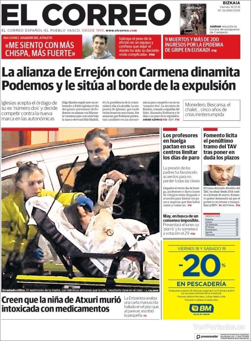 Portada El Correo 2019-01-19