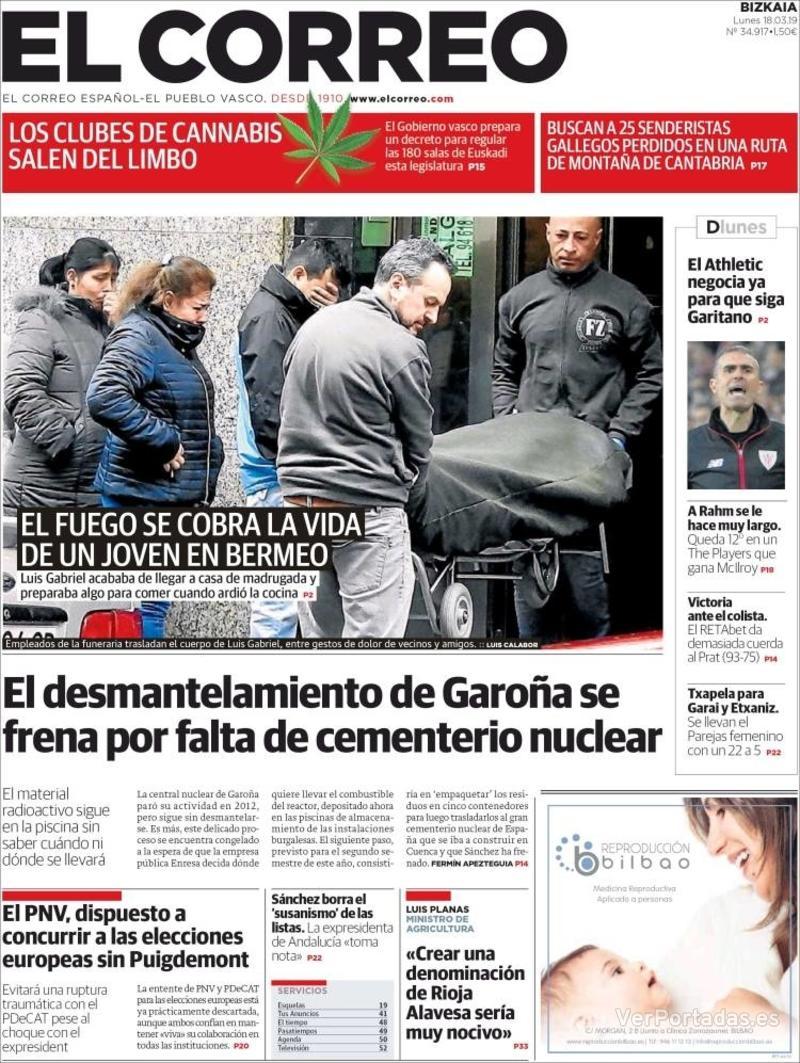 Portada El Correo 2019-03-18