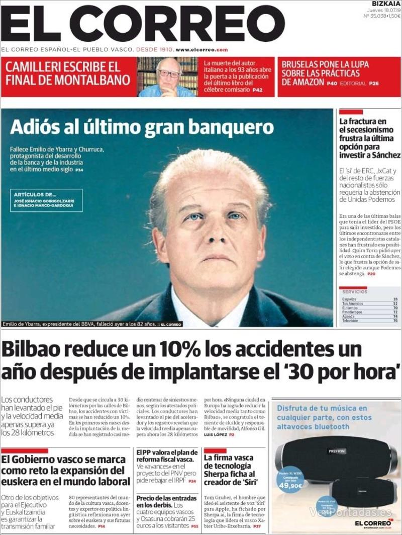 Portada El Correo 2019-07-19