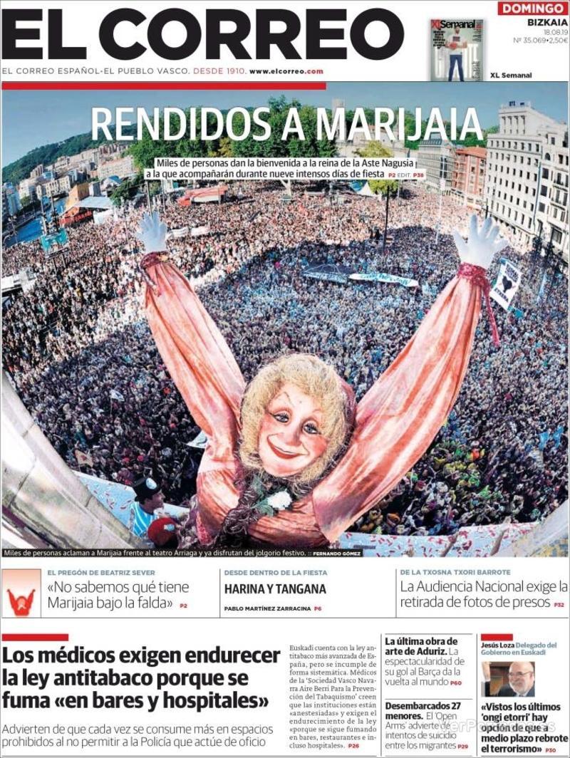 Portada El Correo 2019-08-19