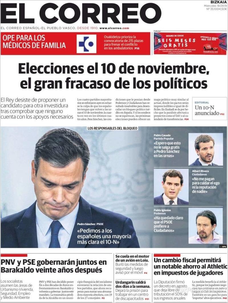 Portada El Correo 2019-09-19