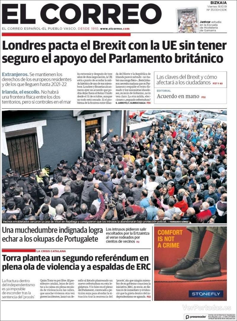 Portada El Correo 2019-10-19