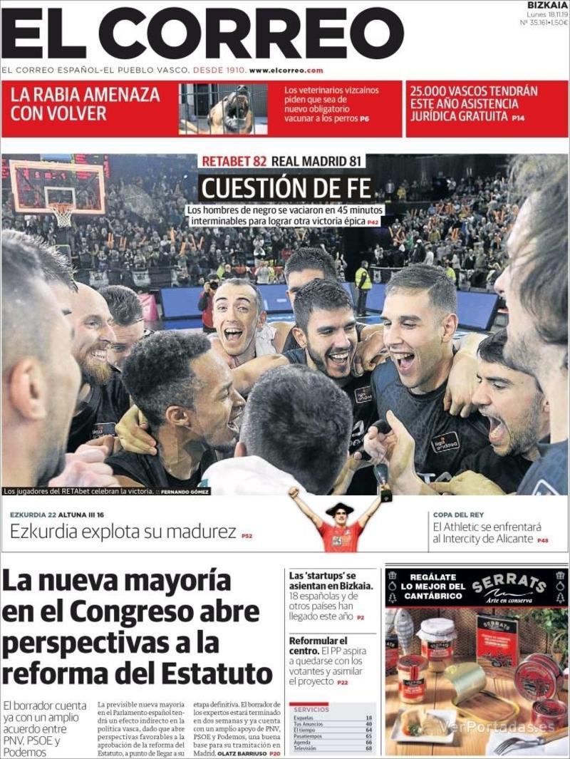 Portada El Correo 2019-11-19