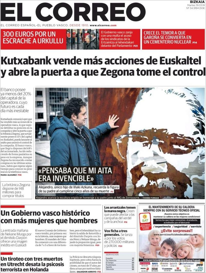 Portada El Correo 2019-03-19