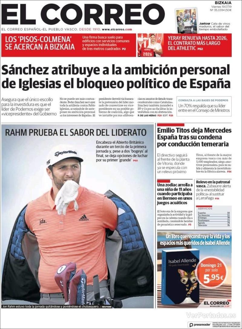 Portada El Correo 2019-07-20