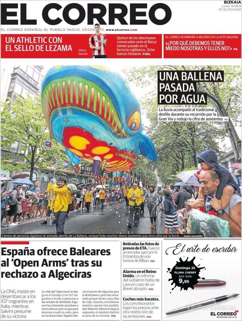 Portada El Correo 2019-08-20