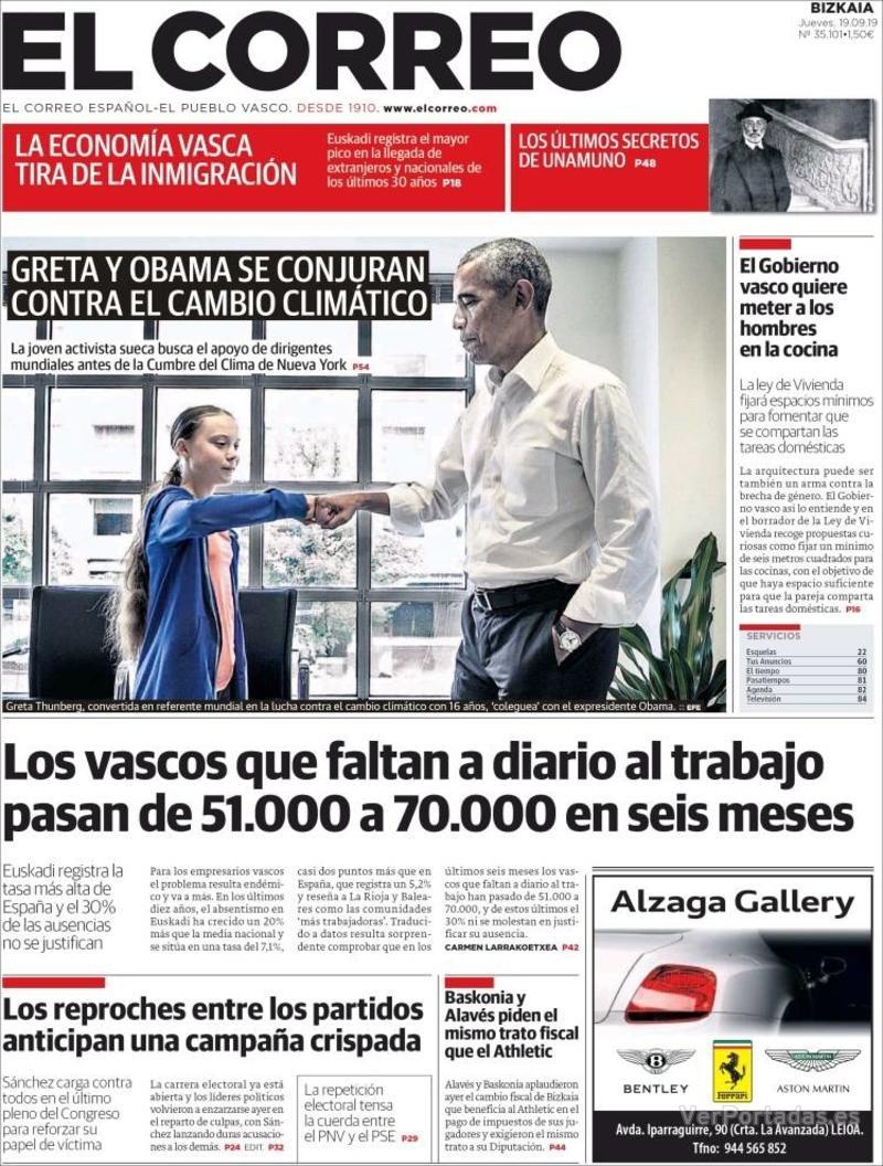 Portada El Correo 2019-09-20