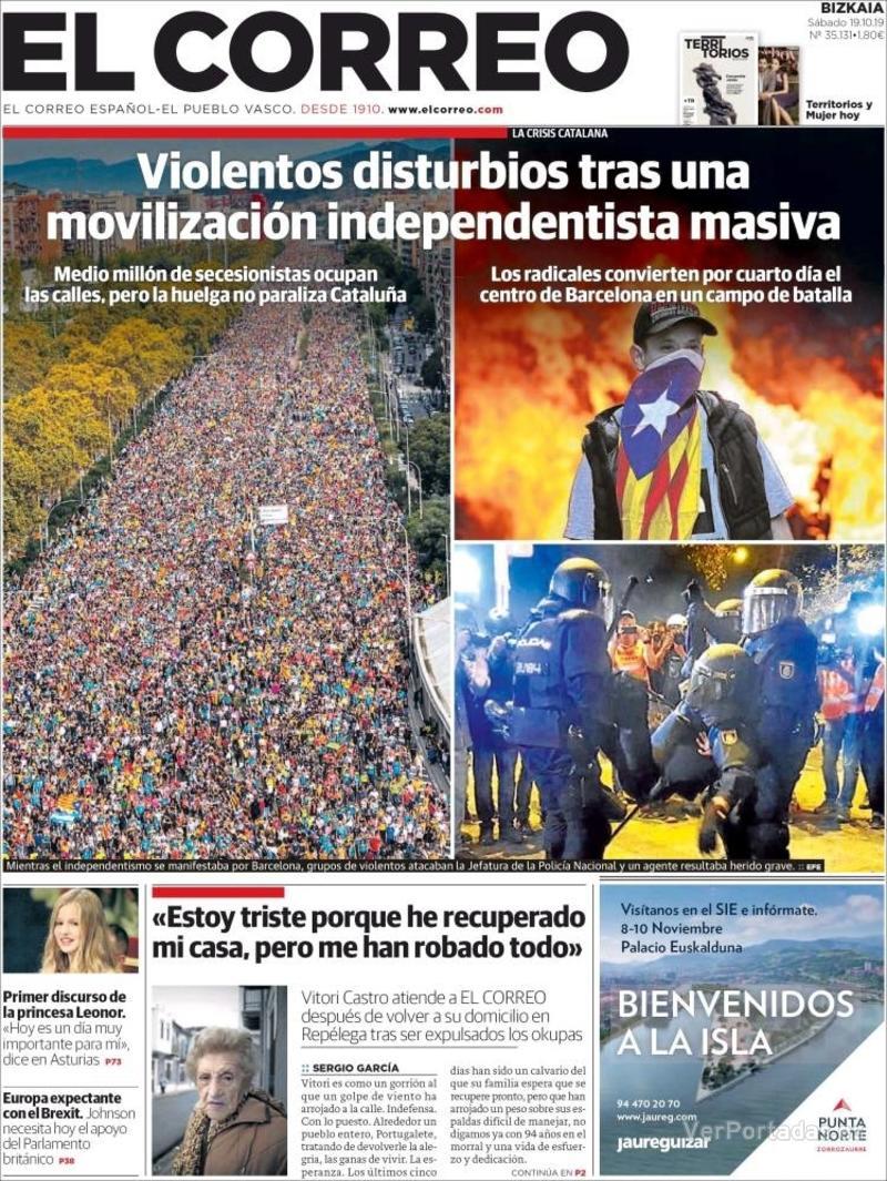 Portada El Correo 2019-10-20