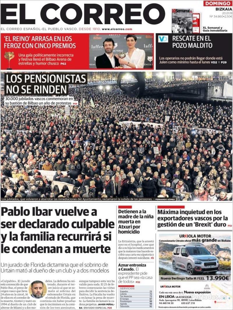 Portada El Correo 2019-01-21