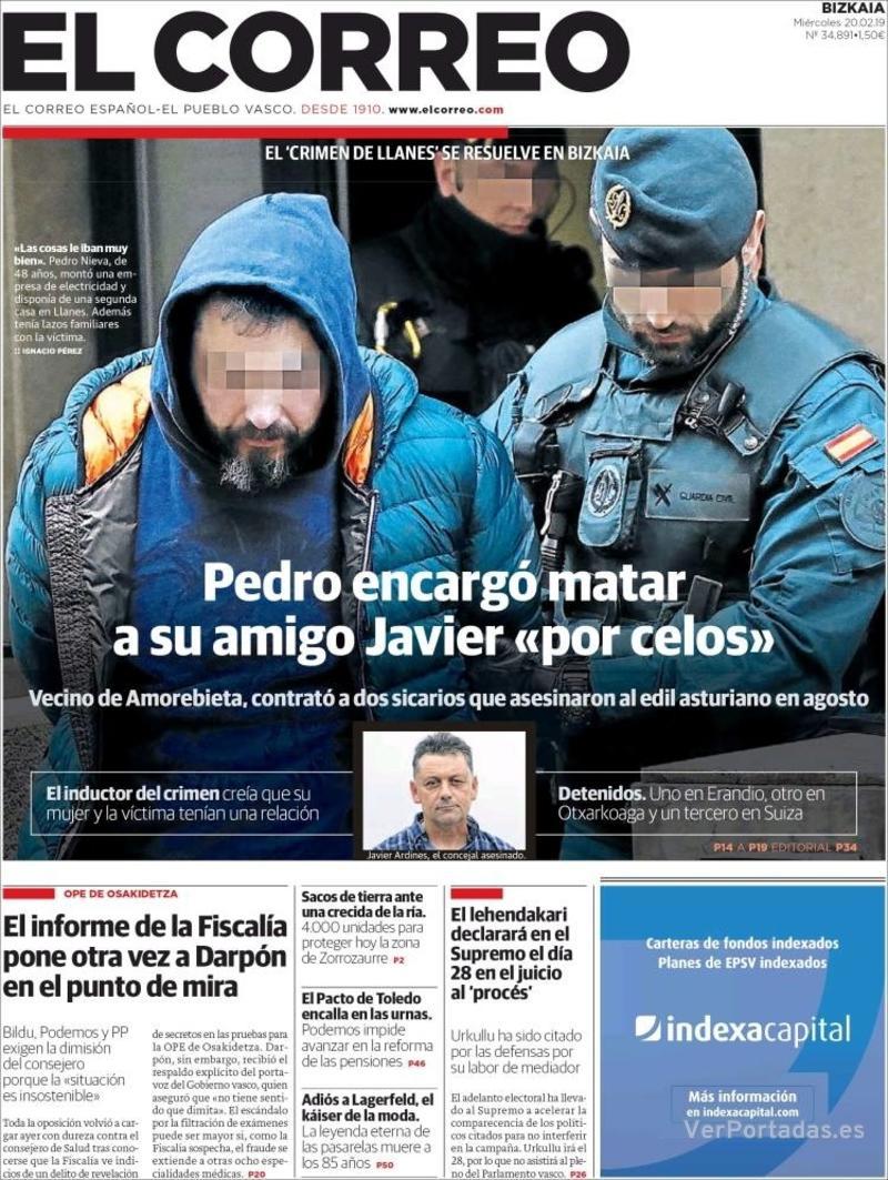 Portada El Correo 2019-02-21