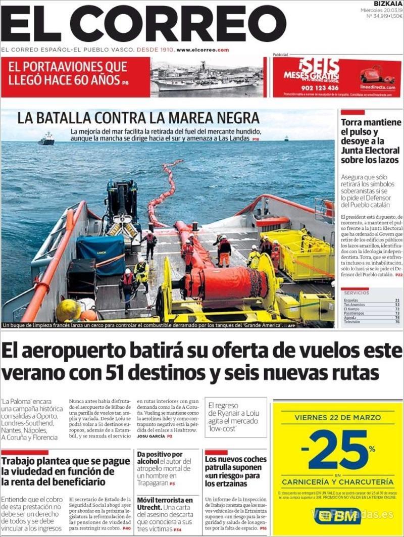 Portada El Correo 2019-03-21