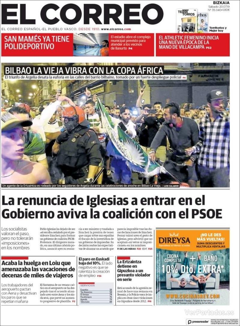 Portada El Correo 2019-07-21