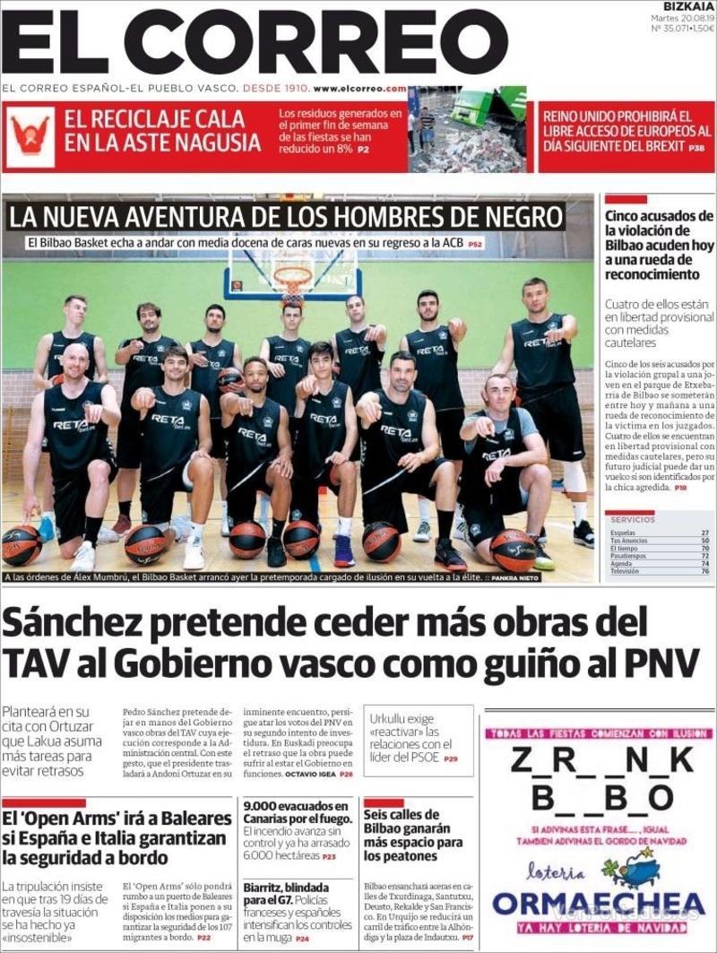Portada El Correo 2019-08-21