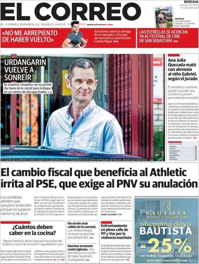 Portada El Correo 2019-09-21