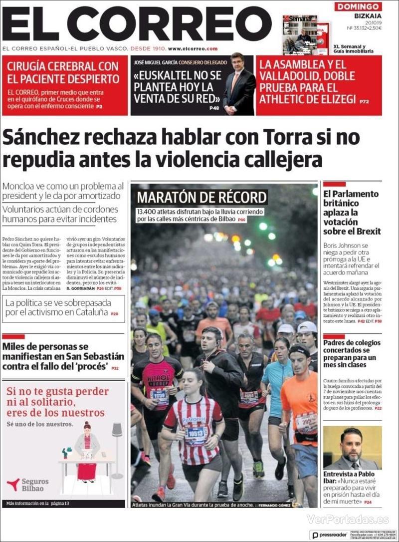 Portada El Correo 2019-10-21