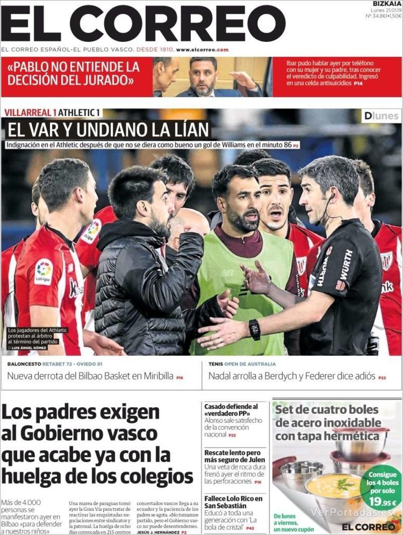 Portada El Correo 2019-01-22
