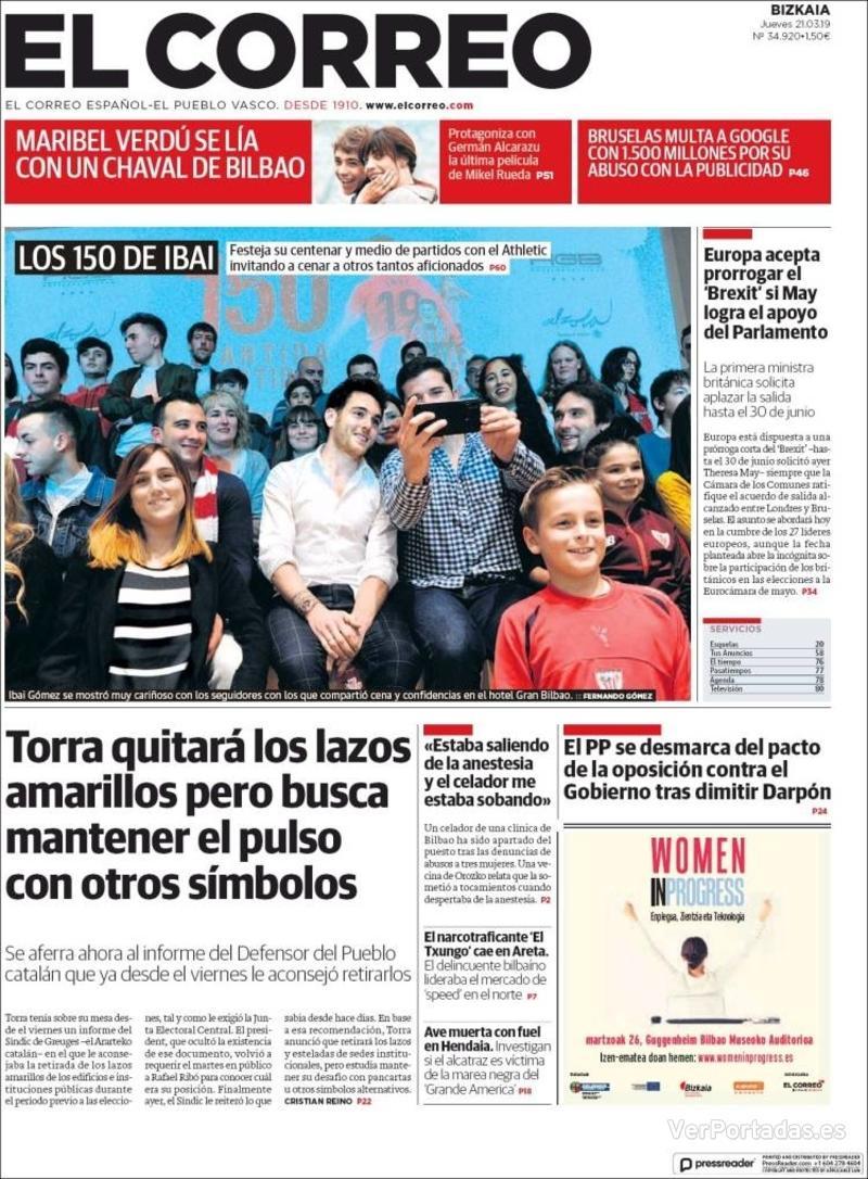Portada El Correo 2019-03-22