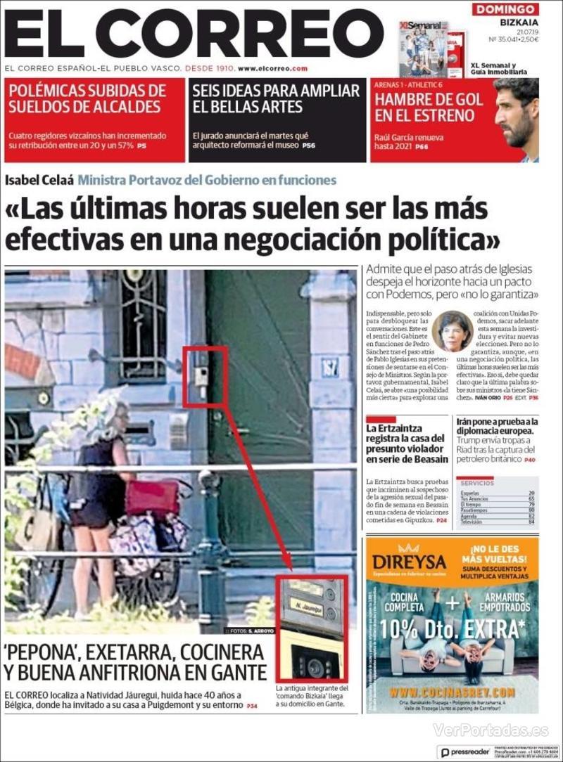 Portada El Correo 2019-07-22