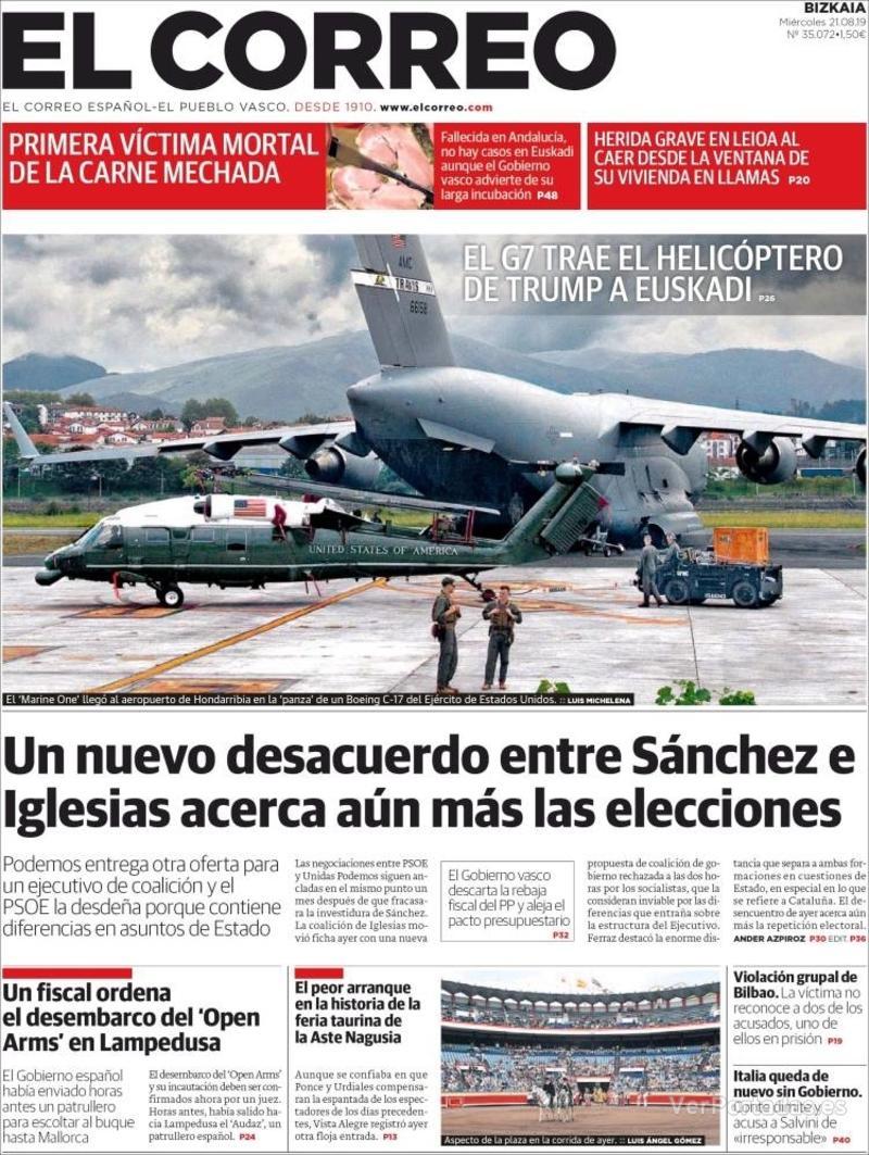 Portada El Correo 2019-08-22
