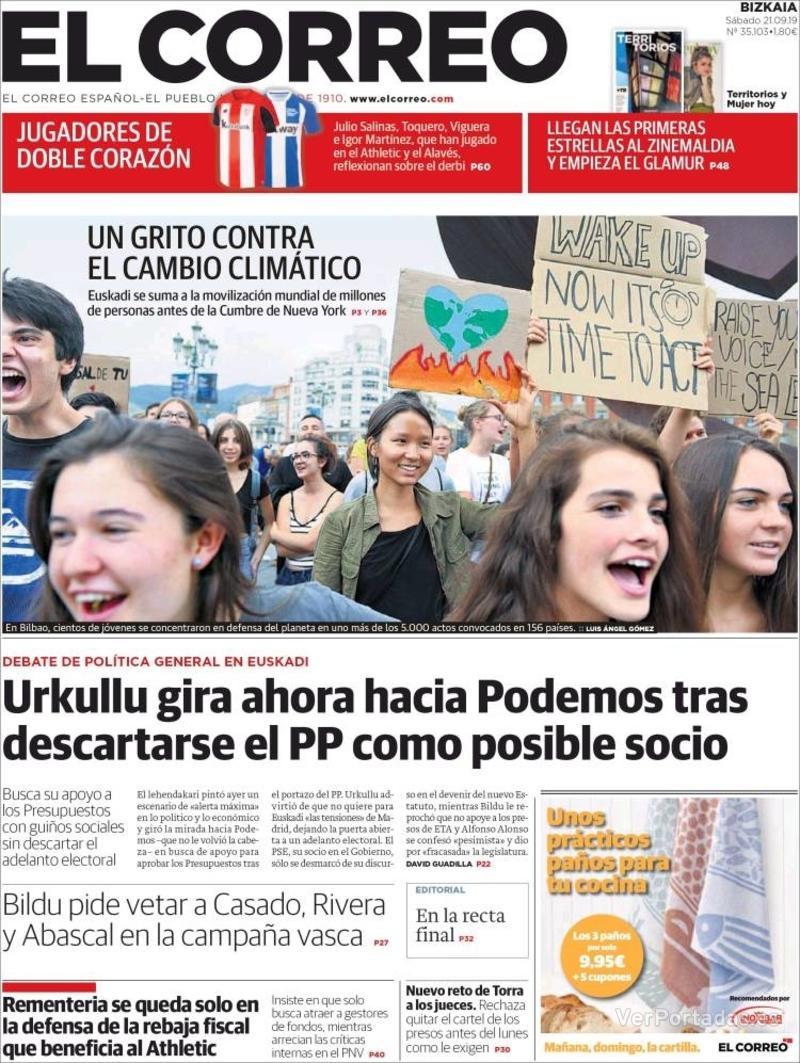 Portada El Correo 2019-09-22