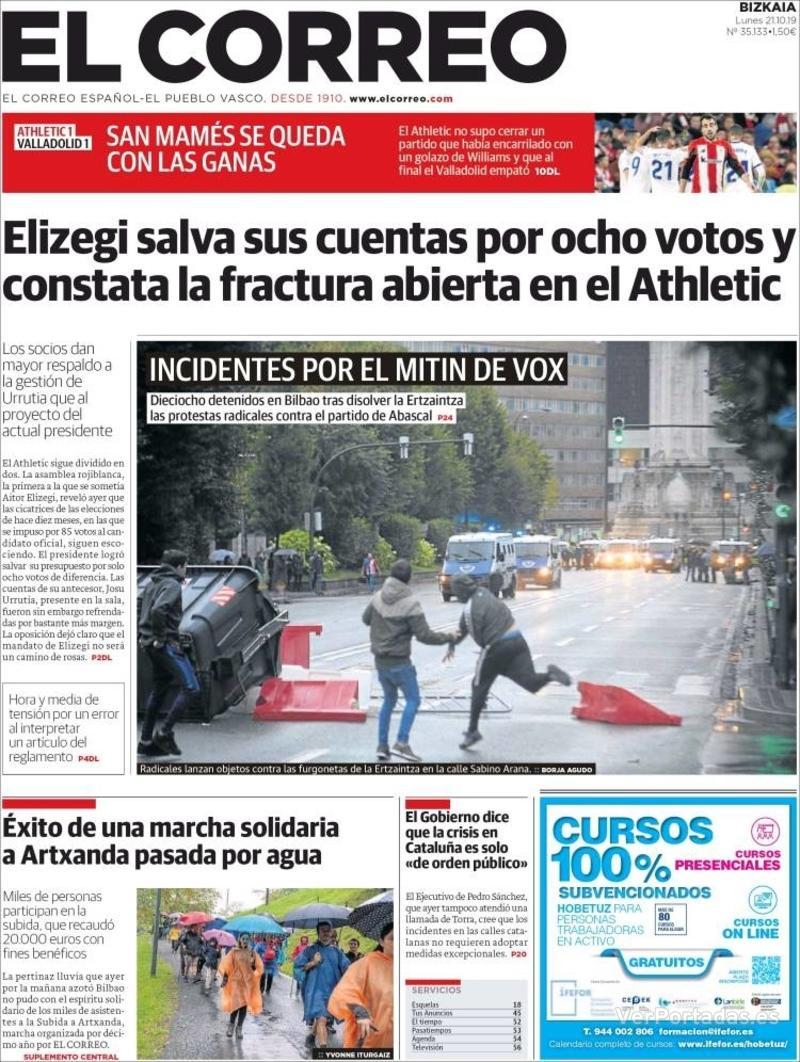 Portada El Correo 2019-10-22