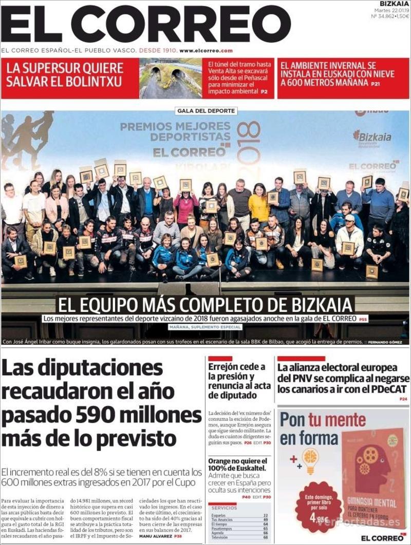 Portada El Correo 2019-01-23