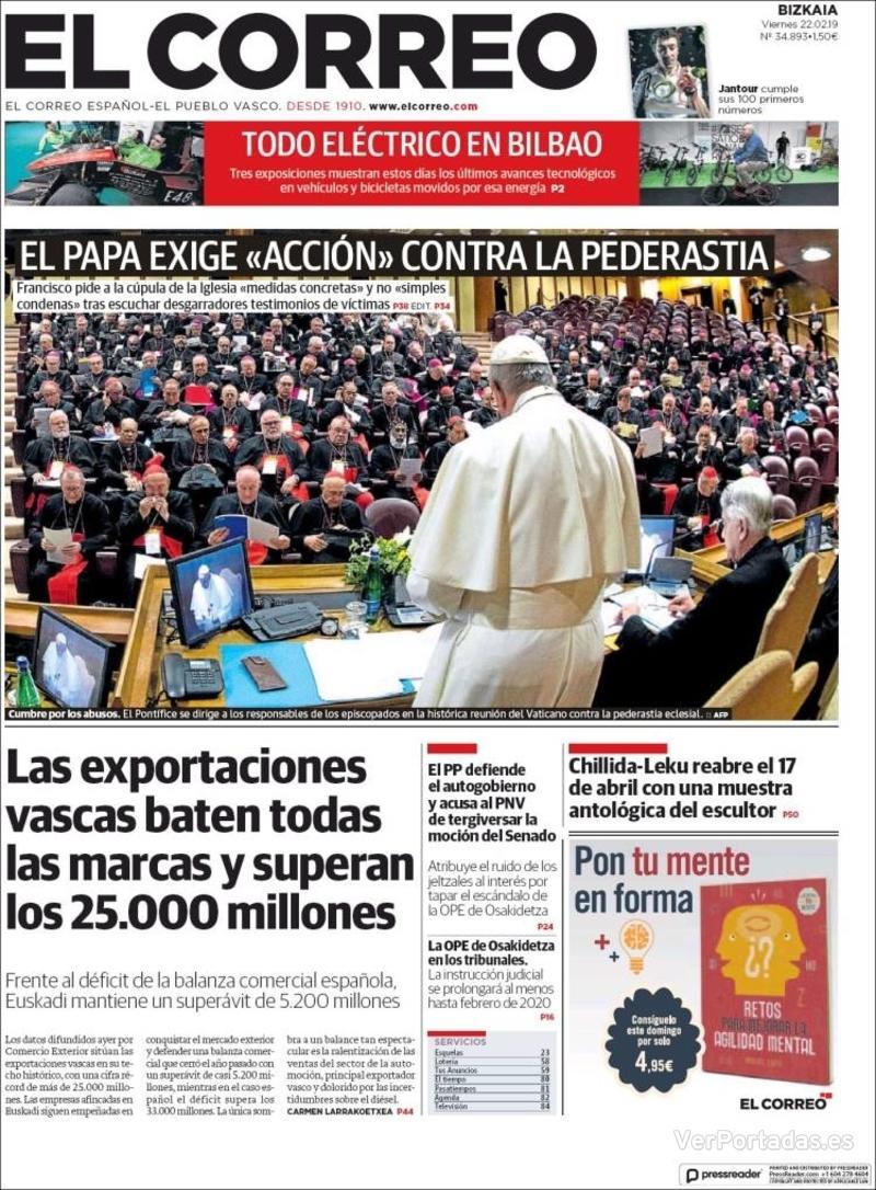 Portada El Correo 2019-02-22