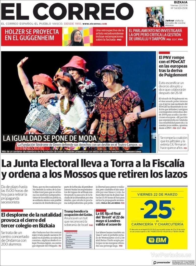 Portada El Correo 2019-03-23