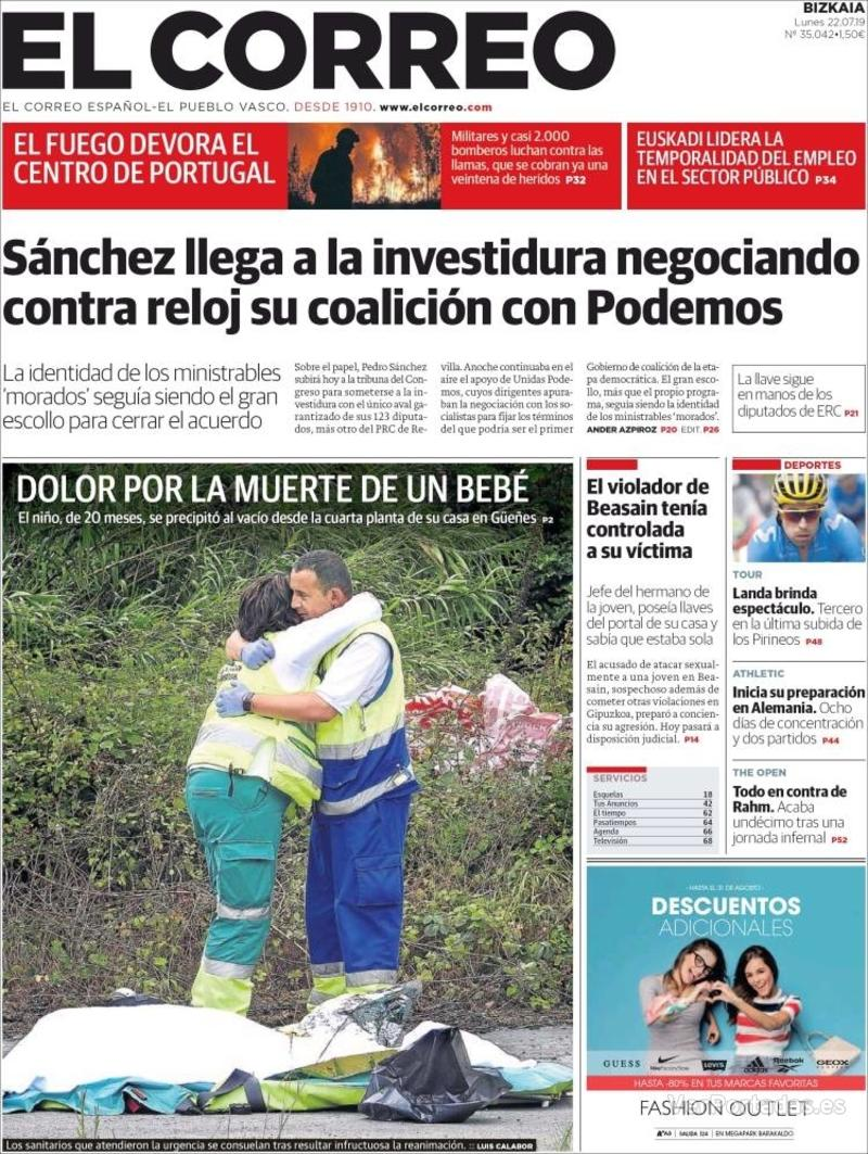 Portada El Correo 2019-07-23