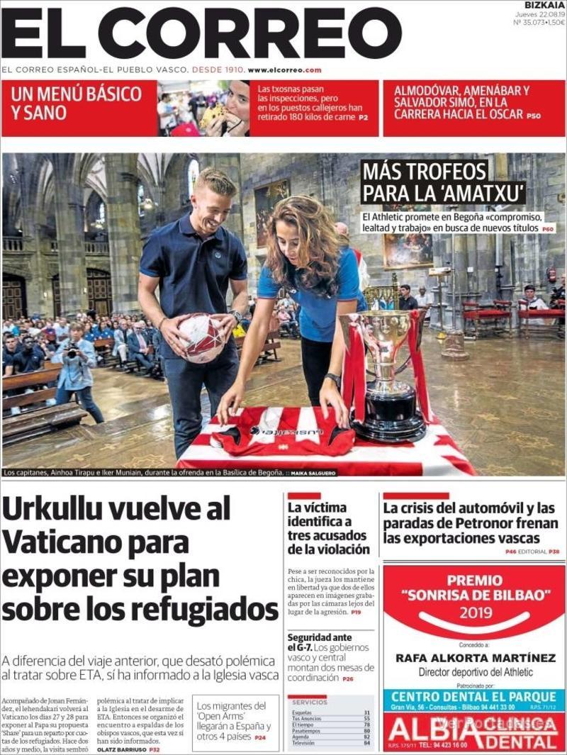 Portada El Correo 2019-08-23