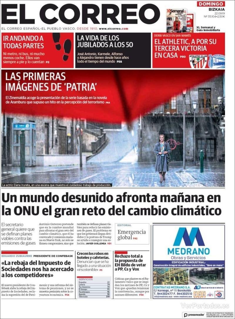 Portada El Correo 2019-09-23
