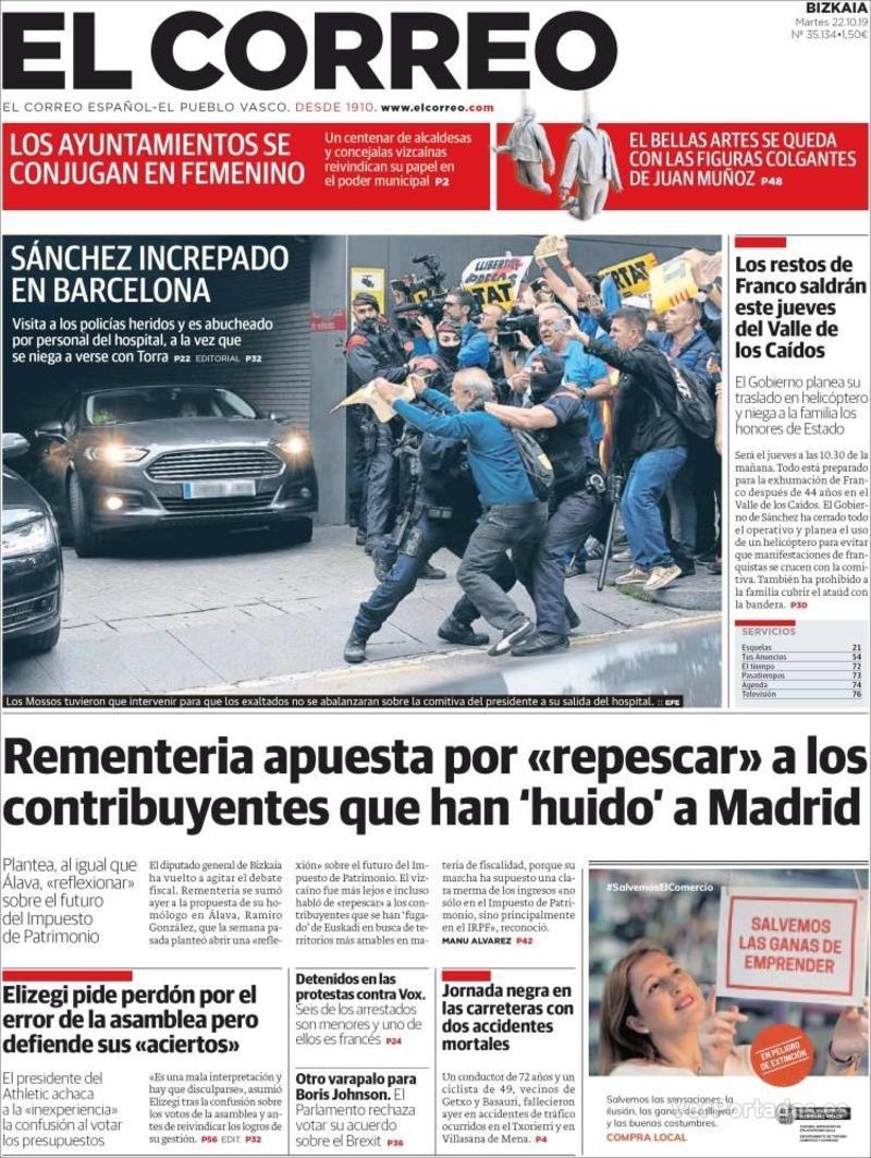 Portada El Correo 2019-10-23