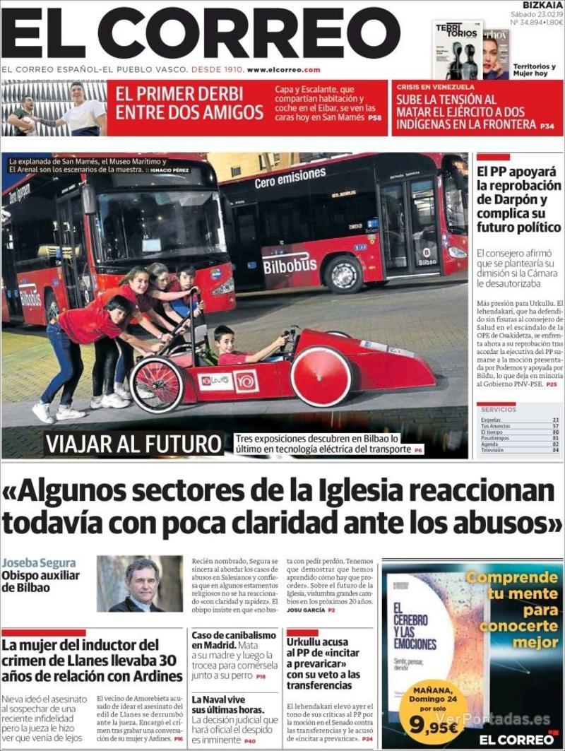 Portada El Correo 2019-02-24