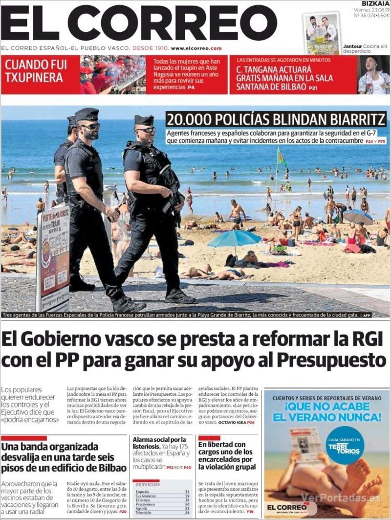 Portada El Correo 2019-08-24