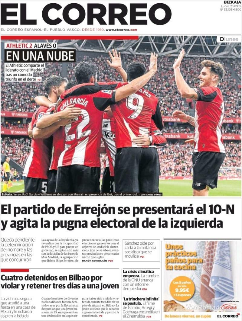 Portada El Correo 2019-09-24