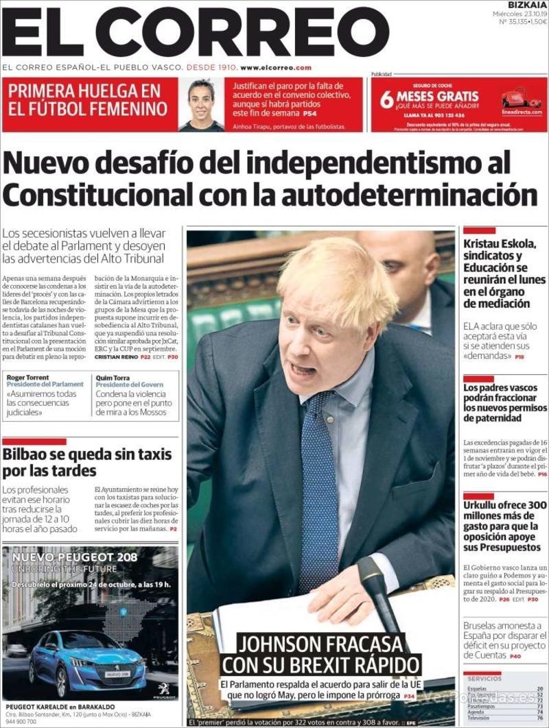 Portada El Correo 2019-10-24