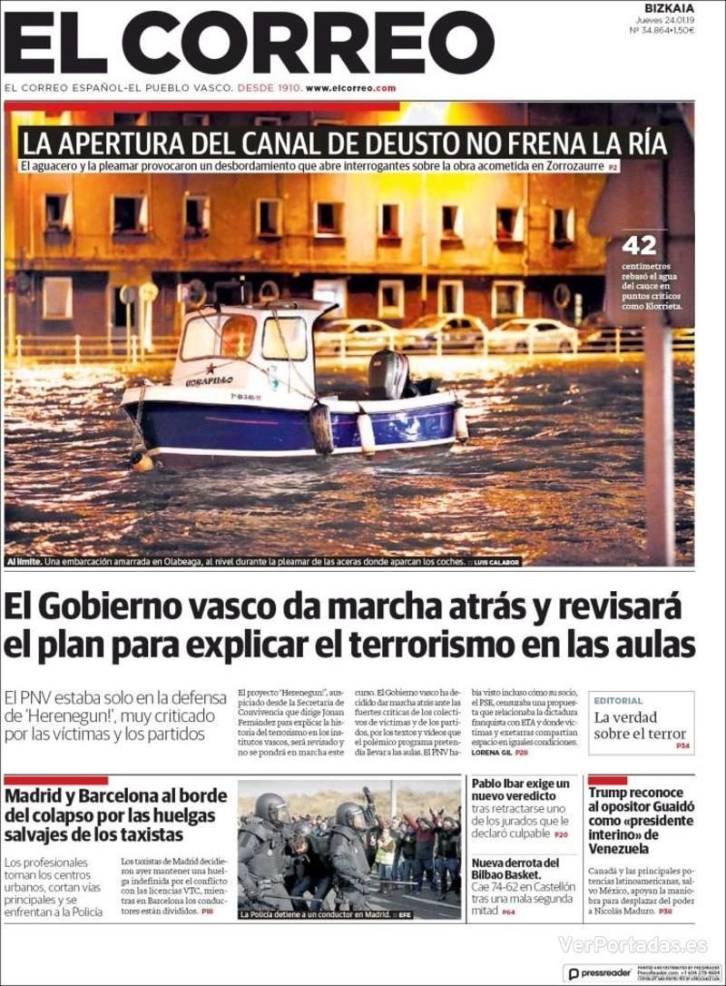 Portada El Correo 2019-01-25