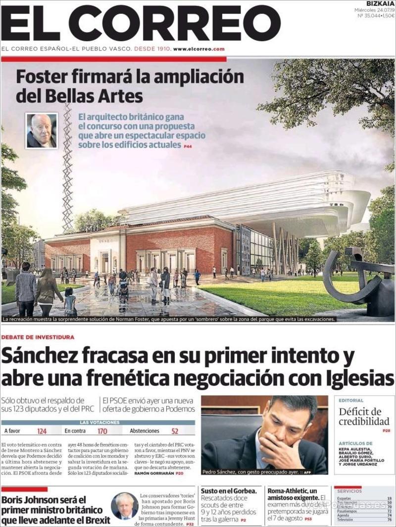 Portada El Correo 2019-07-25