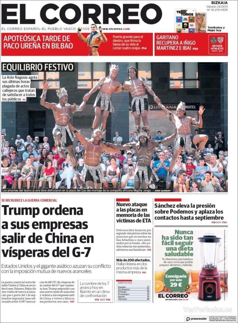 Portada El Correo 2019-08-25