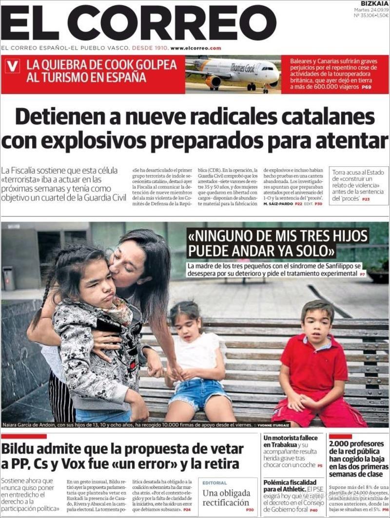 Portada El Correo 2019-09-25