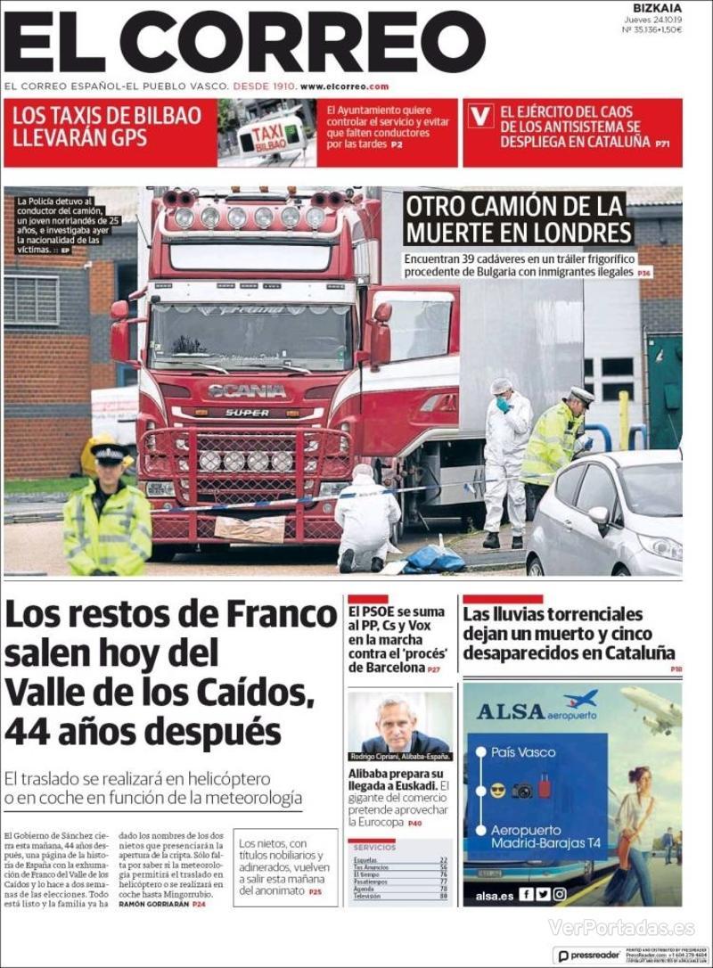 Portada El Correo 2019-10-25