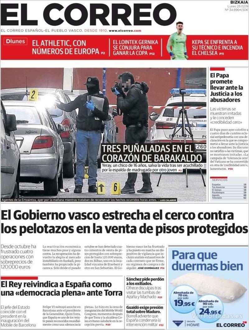 Portada El Correo 2019-02-25