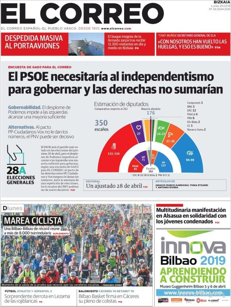 Portada El Correo 2019-03-25