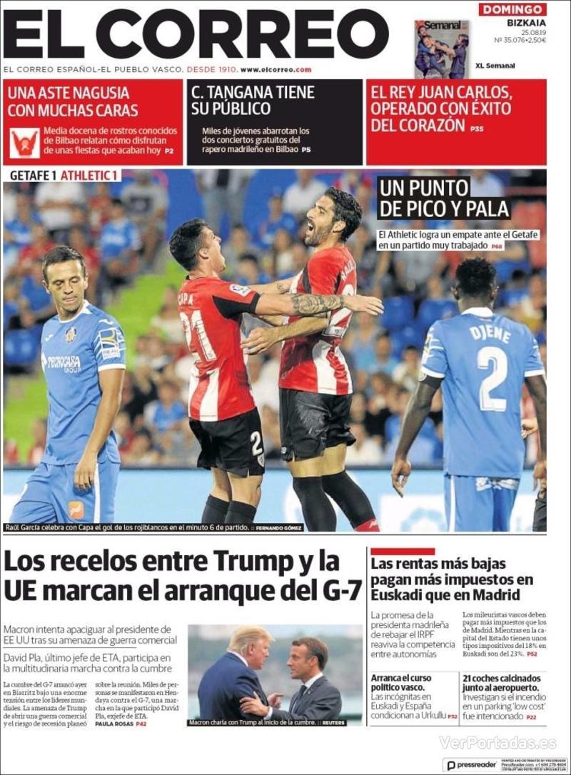 Portada El Correo 2019-08-26