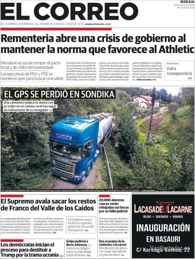 Portada El Correo 2019-09-26